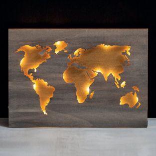 Mapa mundial de madera