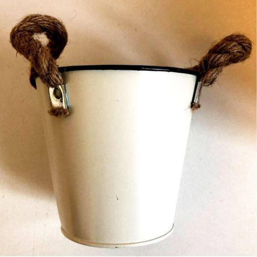 Mini zinc bucket Ø 10.5 cm x 10.5 cm - white