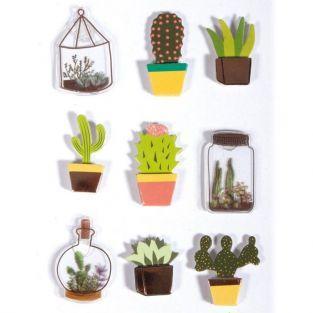 9 stickers 3D cactus & botanique 4 cm