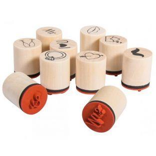 Kit de mini tampons en bois Ø 2-2,5 cm - Faire-part de mariage