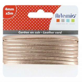 Cordón de cuero 5m x 4 mm - cobrizo