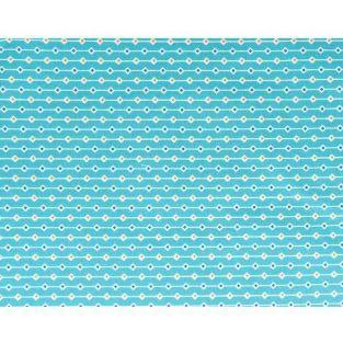 Coupon de tissu 55 x 45 cm - Bleu clair à losanges orange & bleu