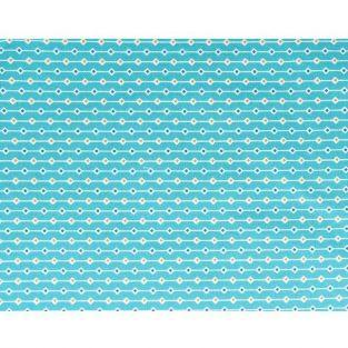 Tela de algodón 55 x 45 cm - Azul claro con rombos naranjo y azul