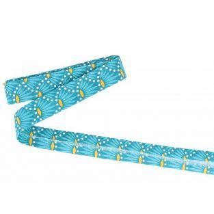 Biais de couture 3 m x 20 mm - Bleu clair à fleurs