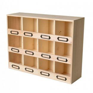 Armario de almacenamiento con 12 cajas de madera