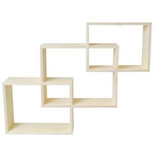 3 nested wooden shelves
