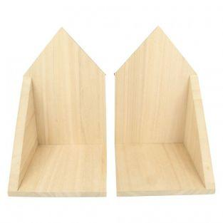 2 estantes de madera esquinas 14.7 x 22 x 16 cm