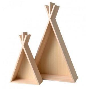 2 estantes de madera Tipi - 45 y 26 cm