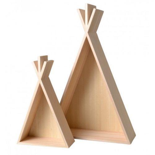 2 étagères en bois Tipi - 45 et 26 cm