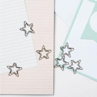 10 paper clips - silver stars