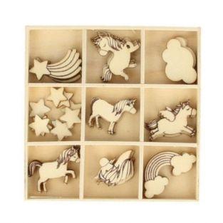 27 mini siluetas de madera Arco iris