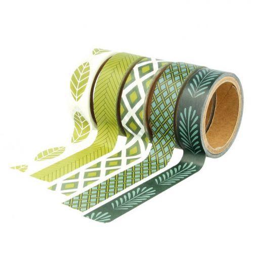 5 masking tapes 5 m x 1,5 cm - Deep Green