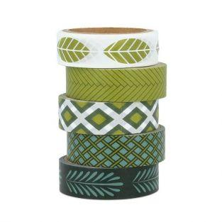 5 masking tapes 5 m x 1.5 cm - Deep Green