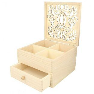 Boîte à bijoux bois à décorer 16 x 16 x 10 cm