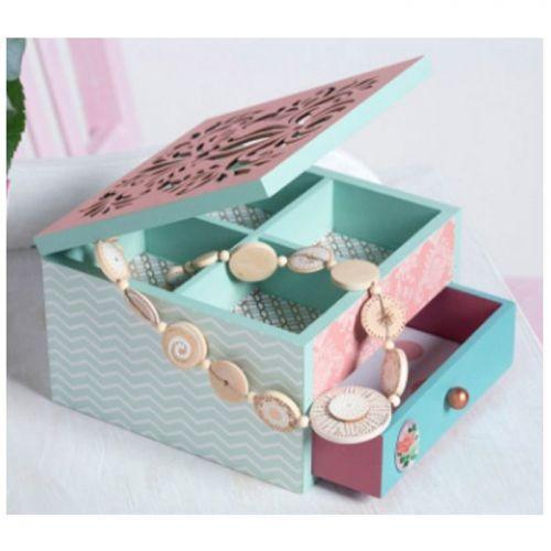DIY Wooden jewelry box 16 x 16 x 10 cm