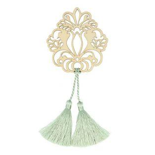 Motif en bois Fleur & 2 pompons vert clair