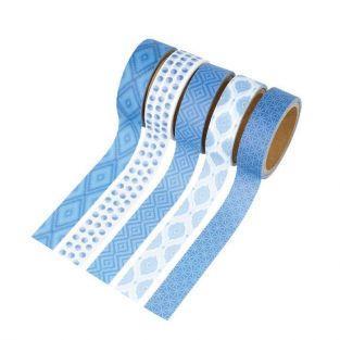 5 masking tapes 5 m x 1,5 cm - Blue Ethnic
