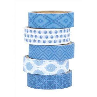 5 masking tapes 5 m x 1.5 cm - Blue Ethnic