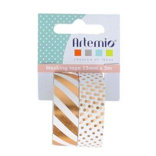 2 masking tapes 5 x 1.5 cm - White with gold designs
