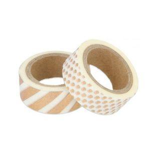 2 Washi tapes 5 x 1,5 cm - Blanco con diseños dorados
