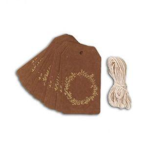 20 étiquettes kraft 4,5 x 8 cm Couronne de fleurs dorée & ficelle