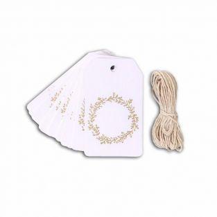 20 etiquetas blancas 4,5 x 8 cm Corona de flores dorada + cuerda