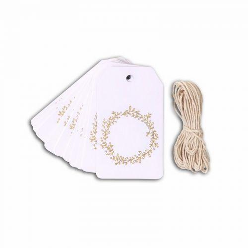 20 étiquettes blanches 4,5 x 8 cm Couronne de fleurs dorée & ficelle