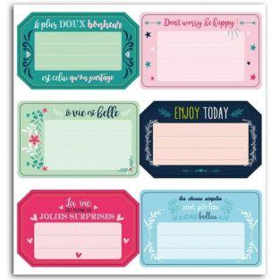 6 adhesive labels Positive messages (in French & English)