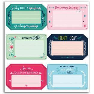 6 étiquettes autocollantes Messages positifs