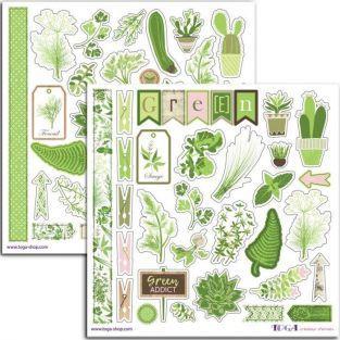 80 pegatinas verdes Huerto