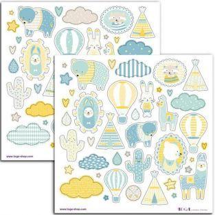 80 stickers bleus Léonard