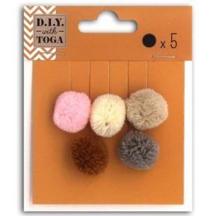 5 pompons ronds en laine 2 cm - Printemps