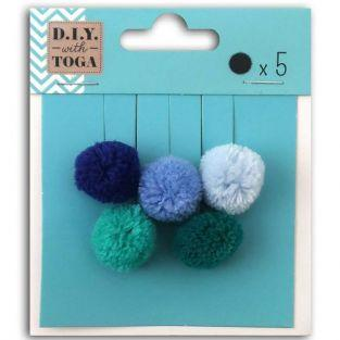 5 round wool pompoms 2 cm - Winter