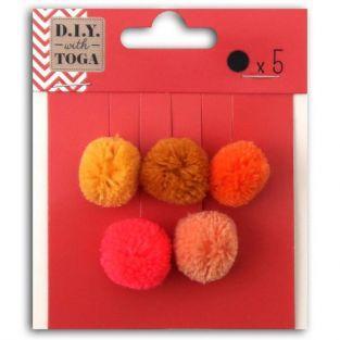 5 pompons ronds en laine 2 cm - Automne