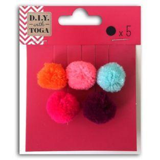 5 round wool pompoms 2 cm - Summer