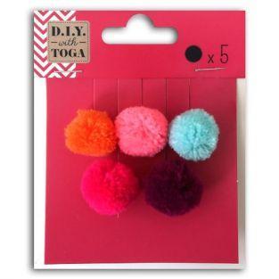 5 pompons ronds en laine 2 cm - Eté