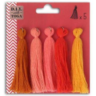 5 maxi cotton tassels 8 cm - Autumn
