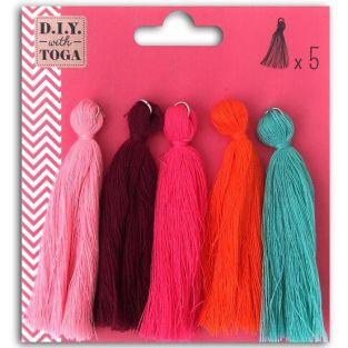 5 maxi cotton tassels 8 cm - Summer