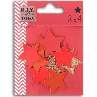12 étoiles en simili cuir - corail-rouge