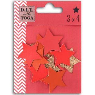 12 faux leather stars - coral-red