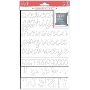 Números y letras de textil fusible - blanco