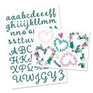 Números y letras de textil fusible - flores