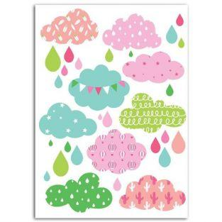 Fusible fabric 15 x 21 cm - Girly Clouds