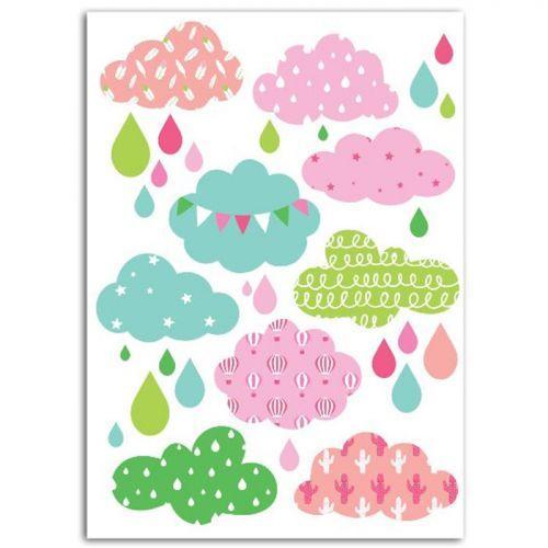Textile thermocollant 15 x 21 cm - Nuages fille