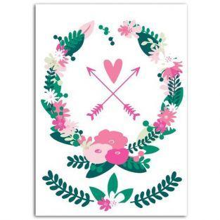 Textile thermocollant 15 x 21 cm - Couronne de fleurs