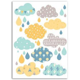 Fusible fabric 15 x 21 cm - Boy's Clouds