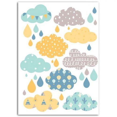 Textile thermocollant 15 x 21 cm - Nuages garçon