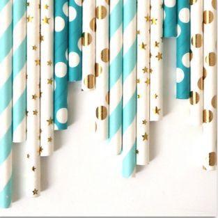 24 pailles en papier - Bleu-doré