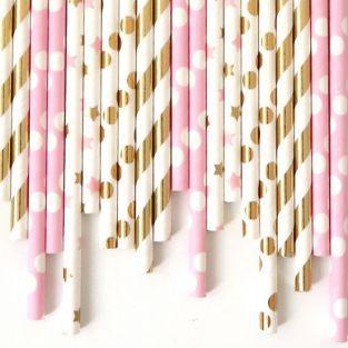 24 pajitas de papel - rosa y oro