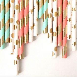 24 pailles en papier - Menthe-rose-doré